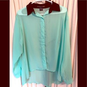 NWOT Sheer High Low Blouse
